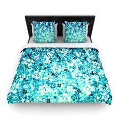 "Ebi Emporium ""Flower Power in Blue"" Teal Aqua Fleece Duvet Cover   KESS InHouse"