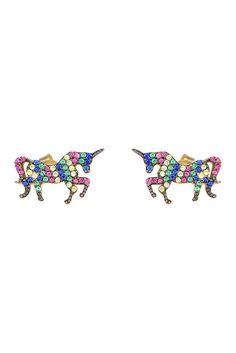 Image of Gab+Cos Designs 14K Gold Vermeil Multi-Colored CZ Unicorn Stud Earrings