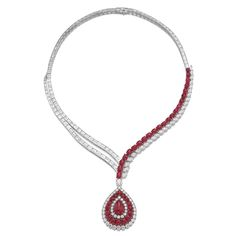 Ruby and diamond necklace Asymmetrically set with lines of baguette diamonds and cabochon rubies and marquise-shaped diamonds, suspending a pear-shaped pendant decorated with cabochon rubies and brilliant-cut diamonds, length approximately 405mm, mark for Jacques Timey***, fitted case stamped Harry Winston.