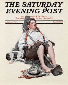 Norman Rockwell's Boy Asleep with Hoe, September 6, 1919 Issue of The Saturday Evening Post
