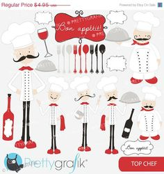 60% OFF SALE chef kitchen clipart commercial use, vector graphics, digital clip art, digital images - CL557