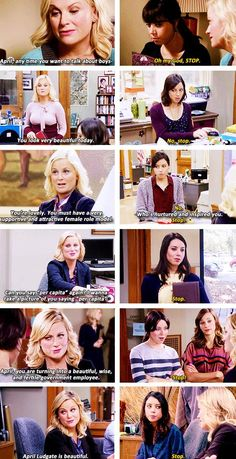 Parks and Recreation-- Leslie complementing April Parks And Rec Memes, Parks And Recs, Parks And Recreation, Movies Showing, Movies And Tv Shows, Parks Department, Tv Shows Funny, Leslie Knope, Great Tv Shows