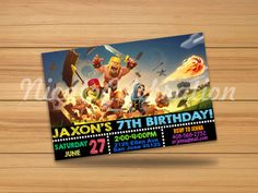 Clash of Clans Chalk Design Invitation by NicatoCelebration Chalk Design, Digital Invitations, Clash Of Clans, San Jose, Invitation Design, All Things, Handmade Gifts, Party, Stuff To Buy