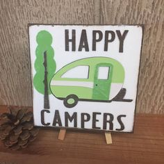 Happy Campers  Reclaimed wood tile  distressed background
