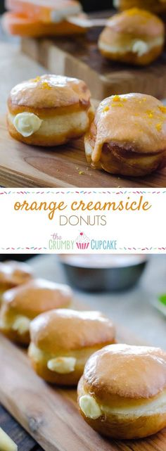 Orange Creamsicle Donuts : Your favorite childhood popsicle in donut form! Fried yeast donuts, stuffed with orange cream cheese filling, and topped with orange glaze.