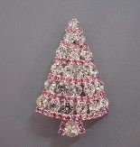 BAUER Christmas tree brooch, clear and pink