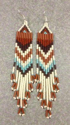 Native American Bone,Brown,Turquoise Beaded Earrings