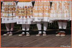 Lower body parts of costumes of women from Čičmany, Slovakia. Folk Costume, Costumes, Body Parts, Cheer Skirts, Art Decor, European Countries, Embroidery, Czech Republic, Traditional