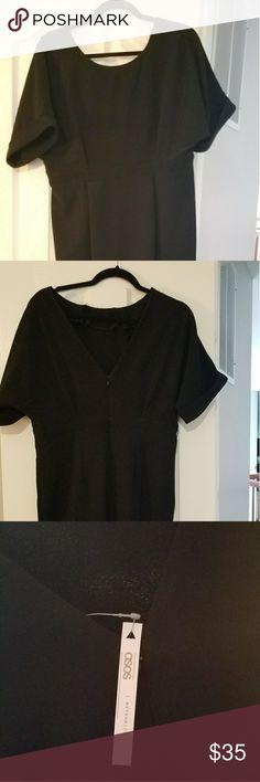 Black Asos Maternity Dress Black, midi, v back, asos maternity dress. Fitted throughout, but not tight. ASOS Maternity Dresses Midi