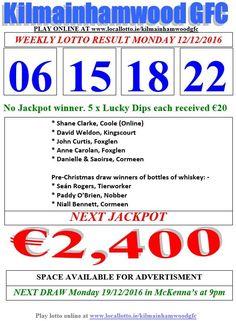 Kilmainhamwood GFC Lotto & News Next Jackpot Tickets www.ie/kilmainhamwoodgfc Play Online, Whiskey Bottle, News