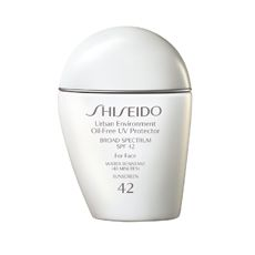 Even when temperatures drop, UV rays can do serious damage.  Shiseido Urban Environment Oil-Free UV Protector with SPF 42 is light formula, perfect for everyday wear:  http://www.shiseido.com/urban-environment-oil-free-uv-protector-spf-42/0730852105126,en_US,pd.html&cgid=suncare-protection&