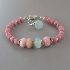 djs Sundance Sol Rhodocrosite Pink Opal Chalcedony Sterling Silver Bracelet