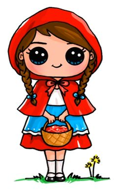 Little Red Riding Hood Cute people drawings More at @ Kawaii Girl Drawings, Cute Girl Drawing, Disney Drawings, Cartoon Drawings, Cute Drawings, People Drawings, Kawaii Disney, Cute Disney, Cute Kawaii Girl