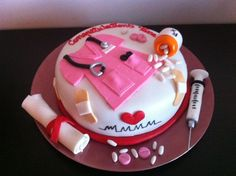 Nurse Graduation Cake - All details made out of fondant. Thank you for looking! :)