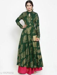 Kurtis & Kurtas JAIPUR FULL FLAIR FLOOR LENGTH KURTA (BOTTLE GREEN COLOR) Fabric: Rayon Sleeve Length: Long Sleeves Pattern: Printed Combo of: Single Sizes: XL (Bust Size: 42 in, Size Length: 52 in)  L (Bust Size: 40 in, Size Length: 52 in)  M (Bust Size: 38 in, Size Length: 52 in)  XXL (Bust Size: 44 in, Size Length: 52 in)  Country of Origin: India Sizes Available: M, L, XL, XXL   Catalog Rating: ★4.2 (457)  Catalog Name: Aagam Superior Kurtis CatalogID_2549004 C74-SC1001 Code: 236-13070832-5961