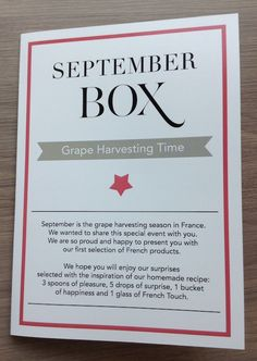 French Box Subscription Review - September 2014 Box Info