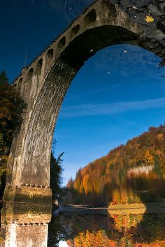 Reflection of the Viaduct, Vallorbe, Canton of Vaud, Switzerland