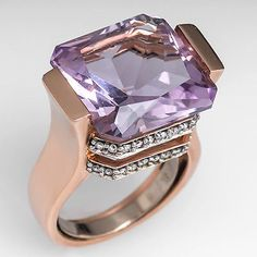 Channel Set Lilac Amethyst Cocktail Ring w/ Diamonds Solid 14K Rose Gold Estate