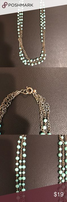 """Beautiful turquoise necklace This is a beautiful never been worn turquoise necklace. It is 14"""" in length and in excellent condition and looks brand new. It has a secure clasp and it is triple strand. A finishing accessory that adds a pop of color! Other"""