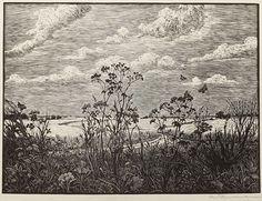 """✨  Karl Rudolf Hennemann (1884 Waren (Müritz)-1972 Schwerin), Holzschnitt, """"Blick auf Felder im Sommer"""", u.r. mit Bleistift signiert, 33x44cm auf 42,55cm"""