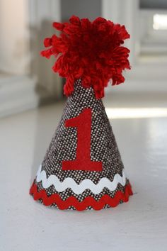 Sock Monkey Birthday Party Hat by sweetlilytutus on Etsy, $14.99
