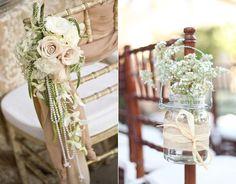 19 hochzeitsstuhl blume jute glas hochzeit dekoration perlen schleife Hochzeit in Beige – Naturfarben Hochzeit Inspiration