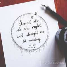 Second star to the right, and straight on 'til morning.Peter Pan by J.M.Barrie I think this request was anonymous, I can't see a name. But thanks for the request anyways! Dip pen lettering and illustration. Indian ink. 27.1.2015