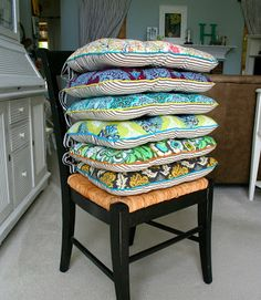 great chair cushion tutorial. you should see the other side of these