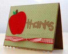 Felt Apple Thank You card with title from Walk in My Garden Cricut cartridge