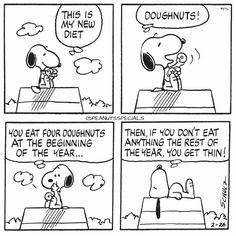 First Appearance: February 26th, 1977 #peanutsspecials #ps #pnts #schulz #snoopy #new #diet #doughnuts #beginning #year #eat #anything #year #thin www.peanutsspecials.com