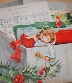 Vintage Christmas card. I love that this is a still life of a box used for holiday organization and planning.