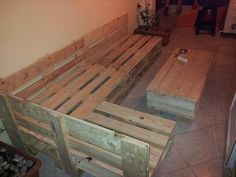 this is pallet wood but consider this look in 5/4 decking for upstairs deck maybe bright tropical color