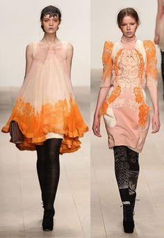 Two looks from London-based Turkish designer Bora Aksu's fall-winter 2012-13 collection.