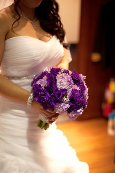 Purple wedding bouquet with brunia and dusty miller instead of lilac or white
