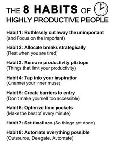 The 8 Habits of Highly Productive People // needing some motivation lately Quotes Dream, Life Quotes Love, Time Quotes, Self Discipline, Time Management Tips, Time Management Printable, Visual Management, Business Management, Robert Kiyosaki