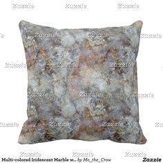 Multi-colored Iridescent Marble with Gold Veins Pillow