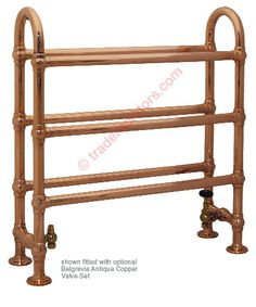The Ermine: Traditional Copper Heated Towel RailBtu(Δ60): 2591 / Watt 759 Pipe Centres: 480mm (including valves) Projection from Wall: 225mm 32mm Brass & Mild Steel tubing with high quality rustic copper finish Complete with a 10 year Guarantee Supplied with all necessary fixings Shipped on a FREE 3 day tracked and insured delivery service  Online Price: £385.00 (Inc VAT at 20%)