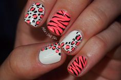 Awesome Animal Print Nail Art Design Idea With Zebra And Cheetah Pattern Combination In White And Pink And Black Colors - Animal Nail Art nail art Nail Art Designs, Nail Designs Tumblr, Creative Nail Designs, Simple Nail Designs, Creative Nails, Acrylic Nail Designs, Nails Design, Acrylic Nails, Cheetah Nail Designs
