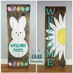 Reversible sign welcome sign easter sign by ebabcreations. reversible sign easter sign spring sign front by ebabcreations pallet projects Pallet Crafts, Wooden Crafts, Pallet Projects, Pallet Ideas, Crafts To Make, Arts And Crafts, Diy Crafts, Painted Signs, Wooden Signs