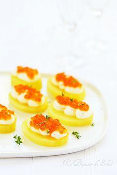 Canap s au jambon de bayonne foie gras et pommes recipe foie gras aperitif and canapes - Pomme de terre coup de soleil ...