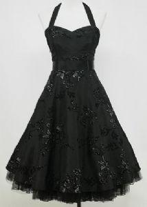 Black sparkle halter neck 50s prom dress