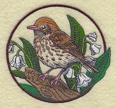 Wood Thrush and Lily of the Valley Circle. Machine embroidery 10*10 cm. 5.99 usd