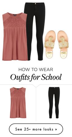 """""""SOS STARVING AT SCHOOL"""" by ashleypinkerton on Polyvore featuring Jack Rogers, Frame Denim and Warehouse"""