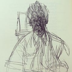 """Self-portrait by Alberto Giacometti. James Lord writes in his introduction, """"He works in a state of intimate excitement with his materials, his long strong functional hands never still, never quite clean of contact with his work … The figures and objects are seen by the artist not as pretexts but as ends in themselves and are to be seen similarly by us."""""""