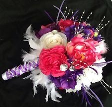 pink purple bouquet with feathers | Wedding Flower Bouquet Set Purple Hot Pink, White Feathers, Gems ...