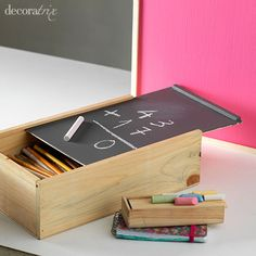 wine boxes into pencil cases Handmade Crafts, Diy Crafts, Recycled Decor, Montessori Toys, Do It Yourself Home, Clever Diy, Diy For Kids, Crates, Diy Furniture