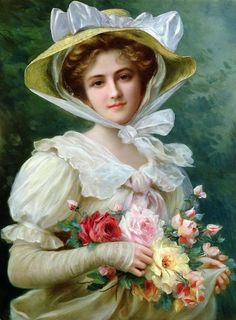 elegant_lady_with_a_bouquet_of_roses-emile-vernon-french-1872-1919.jpg (566×768)