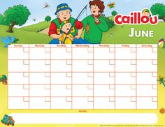Printable Caillou Calendar – June 2017