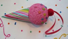 Ice Cream Decor - spray paint styrofoam ball, put colored circled brads in for sprinkles & add scrapbook paper (shaped into a cone)