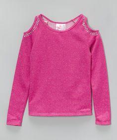 Magenta Fleece Sparkle Cutout Top - Girls | zulily